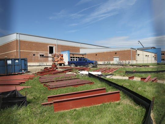 Construction continues at Clear Creek Amana on Tuesday, Sept. 6, 2016. The renovation provides a full weight room on the first floor, with the wrestling room now located on the second floor.