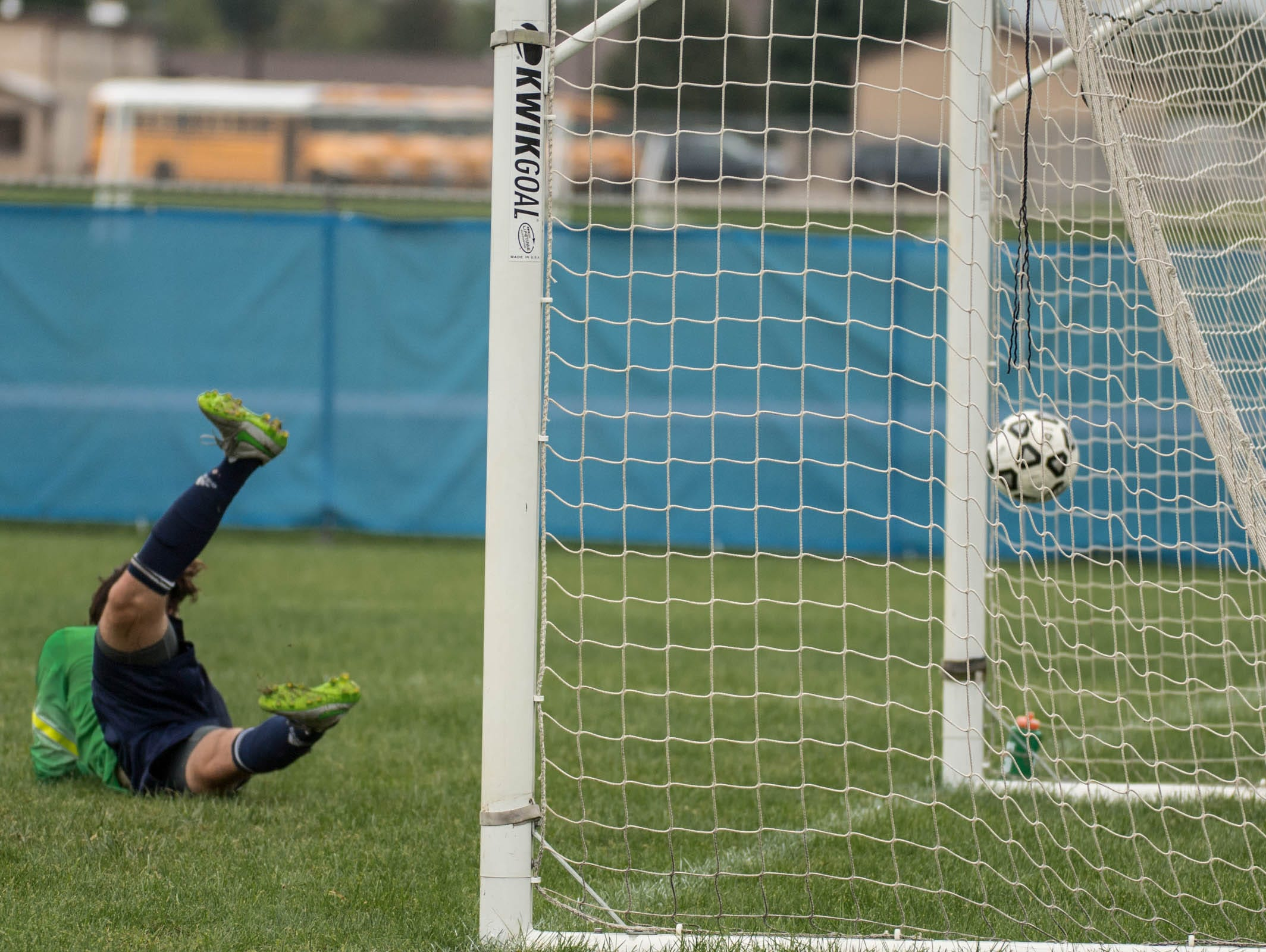 Lakeview's scores first on Battle Creek Central's Isaac Engelhardt during the All City Soccer Championship on Saturday.