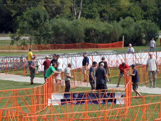 Work continues on the Jingle Cross and Cyclo-Cross World Cup course at the Johnson County Fairgrounds on Wednesday, Sept. 21, 2016.