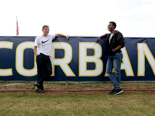 Nikita Wall, left, and Travez Whyte, junior soccer players, stand for a photo at Corban University in Salem on Monday, Sept. 19, 2016.
