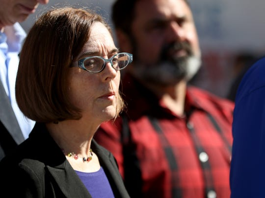 Governor Kate Brown speaks during a press conference at the City of Roseburg Public Safety Center in Roseburg, Ore., on Friday, Oct. 2, 2015. Ten people, including the shooter, were killed and seven others injured in a shooting at Umpqua Community College on Thursday.