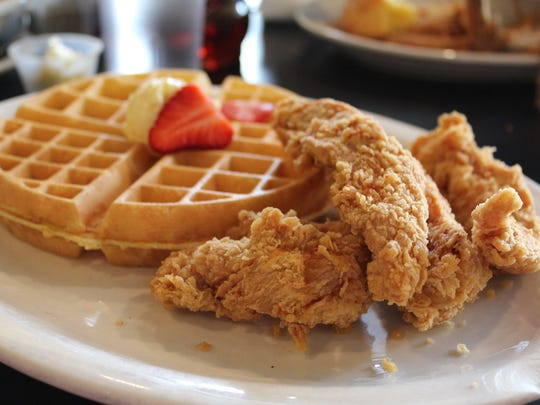 Chicken tenders and a Belgian waffle at New Center Eatery in Detroit.