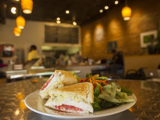 Nodo's chicken artichoke sandwich is seen at its downtown location on Monday, May 4, 2015.