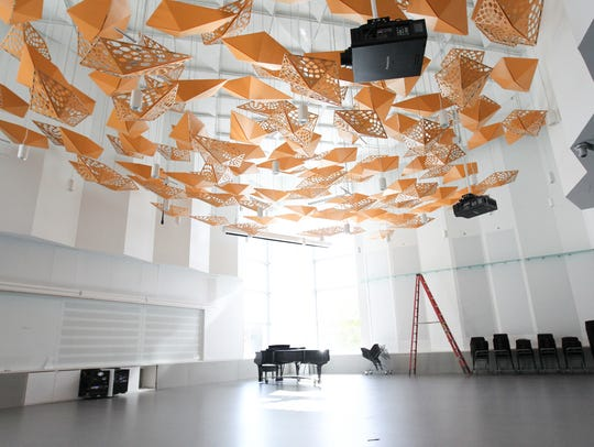 A rehearsal room is pictured inside the University