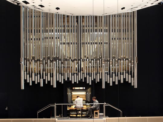 Organ pipes are pictured inside the University of Iowa Voxman Music Building's concert hall on Tuesday, Oct. 18, 2016.