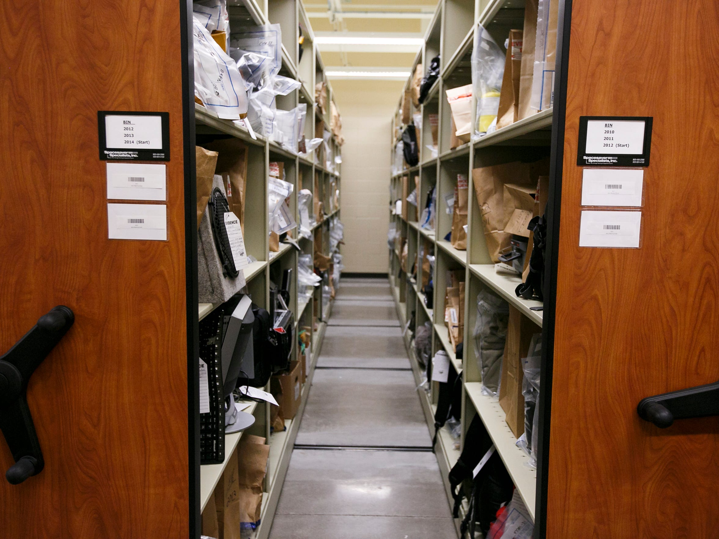 The evidence storage room at the Keizer Police Department, though already full of evidence, is a stark contrast to the overfilled area at the Salem Police Department.