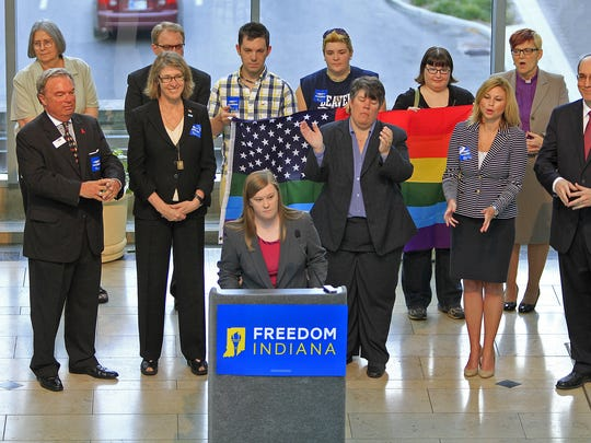 In a 2013 file photo, Freedom Indiana campaign manager Megan Robertson speaks at an event to launch the Freedom Indiana campaign that opposes HJR6, at the Artsgarden.