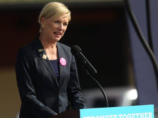 Cecile Richards speaks to a crowd outside the NewBo City Market in Cedar Rapids on Friday, Oct. 28, 2016.