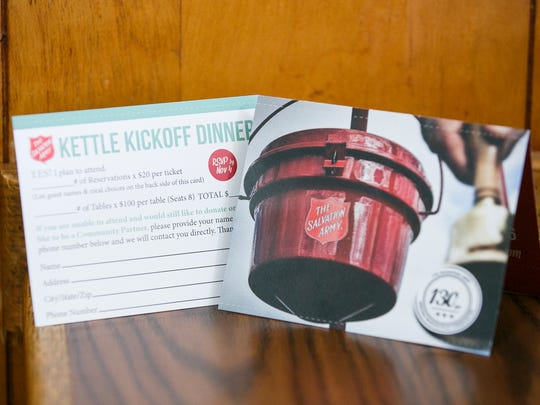 The Salvation Army's Kettle Kickoff Dinner will be Thursday, Nov. 10, at the Ray and Joan Kroc Corps Community Center.