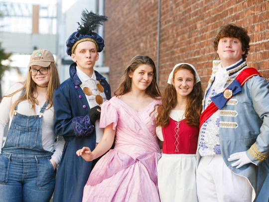 "Rylee Virden (from left), Tyler Fredrickson, Macey Trussell, Phoebe Jacobs and Spence Logan star in West Salem High School's production of ""Cinderella."""