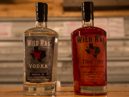 South Texas Distillery produces two kinds of Wild Rag Vodka, a plain one and a cinnamon-flavored one, in Sandia.