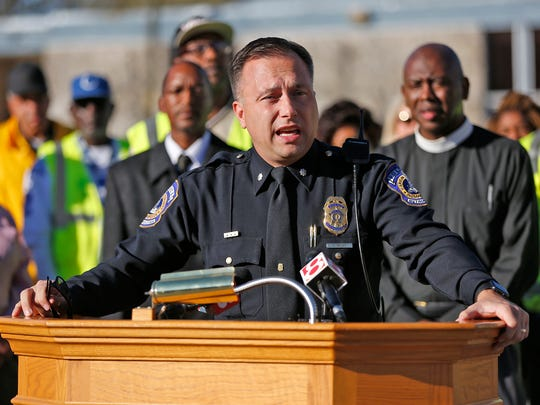 IMPD Deputy Chief Chris Bailey, then serving as North District commander, speaks during a press conference at Mount Zion Baptist Church, Sunday, November 6, 2016.
