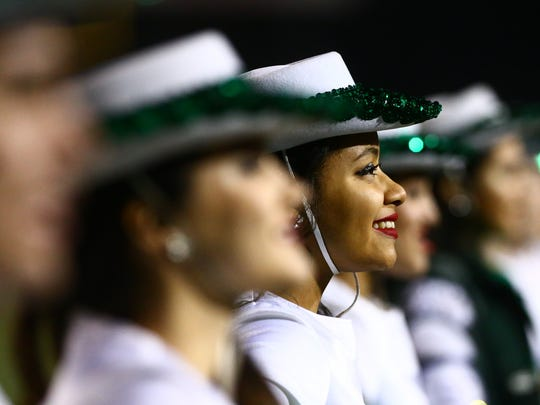 King's drill team lines up before King takes the field for the Class 5A Division II bi-district playoff game at Buccaneer Stadium on Friday, Nov. 11, 2016.