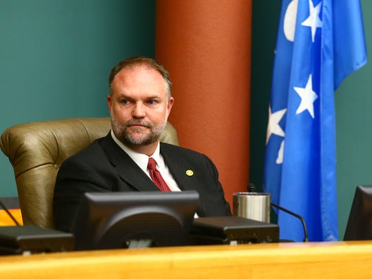 Outgoing City Council member Chad Magill did not give a farewell statement during the City Council meeting Tuesday, Nov. 15, 2016, in the council's chambers. He is waiting for Nueces County to verify the final election tally.