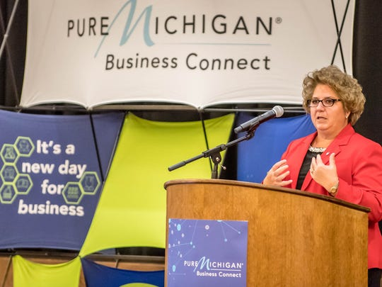 Southwest Michigan First Executive Vice President Jill Bland discusses business collaboration Wednesday at the 2016 Southwest Michigan Buyers' Summit at FireKeepers Casino Hotel in Emmett Township.