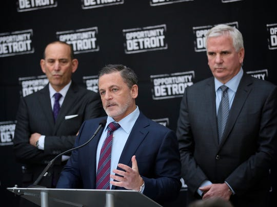 (From left) Don Garber, Major League Soccer Commissioner, Dan Gilbert, Quicken Loans Founder and Chairman and owner of Cleveland Cavaliers and Matt Cullen, President and CEO of Rock Ventures, during a press conference on Wednesday, April 27, 2016 in Detroit, MI, announcing the partnership to bring a Major League Soccer club to Downtown Detroit.