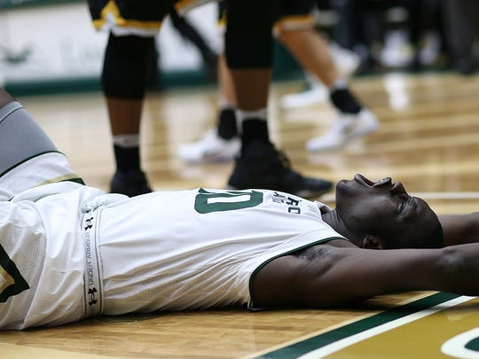 CSU forward Che Bob reacts to a no-call during the Rams' 82-67 loss to Wichita State on Saturday at Moby Arena.