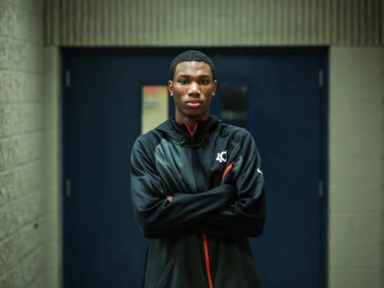 Detroit Cornerstone's Jamal Cain, 17, photographed on Dec. 6, 2016, at Wayne Memorial high school.