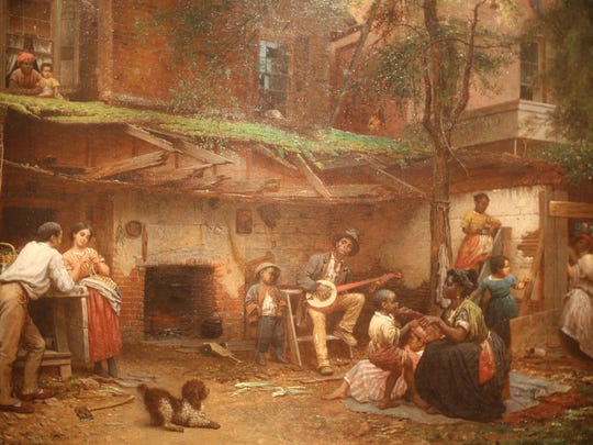 """This is an oil on canvas called """"Negro Life at th eSouth"""" done in 1859 by American artist Eastman Johnson is a part of the Detroit Institute of Arts newly installed show called: """"Dance: American Art 1830-1960 in America,  featuring 90 paintings, sculptures, prints, drawings  and photographs. Photographed Monday, March 14, 2016. Regina H. Boone/Detroit Free Press"""