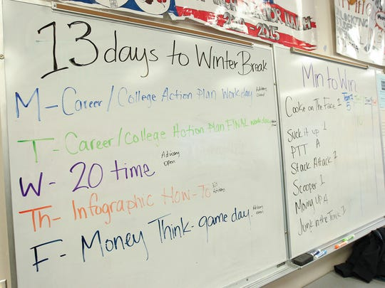A weekly schedule is posted during Elizabeth Rook's class at City High on Friday, Dec. 9, 2016.