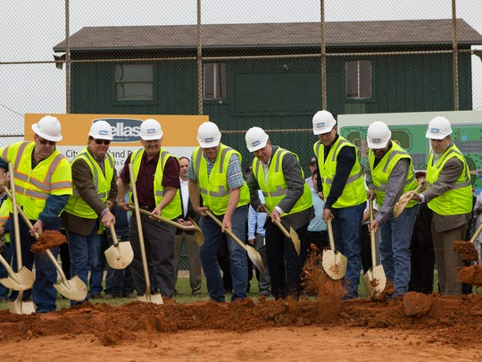 Portland officials hold a groundbreaking for its improved Sports Complex at its Municipal Park at 1815 Memorial Parkway on Wednesday, Dec. 21, 2016.