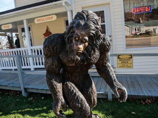 A large Bigfoot statue stands outside Muldoon's Pasties