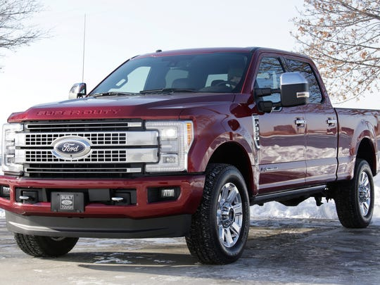 The 2017 Ford F-Series Super Duty pickup truck is photographed