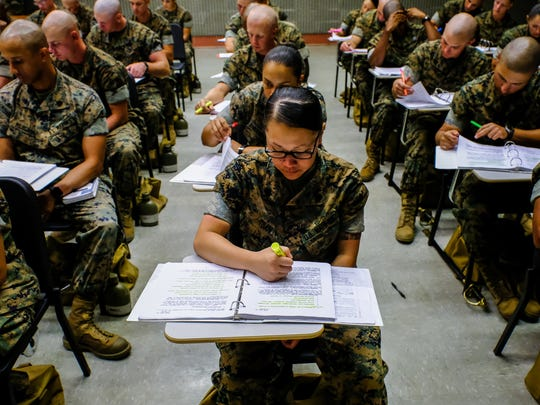 Candidates for being drill instructors study the Recruit Training Order at Parris Island's drill instructor school on Thursday October 20, 2016 at the Marine Corps Recruit Depot in Parris Island, SC. The order has strict rules about when and under what conditions are drill instructor or DI can lay his or her hands on a recruit.