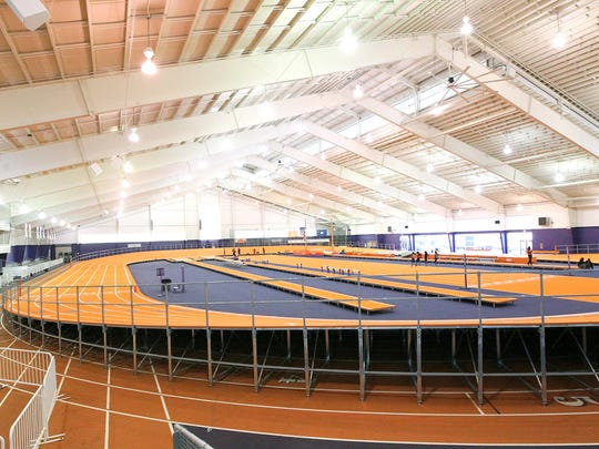 The new track inside the Clemson University Indoor