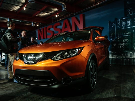 The front of the 2017 Nissan Rogue Sport is seen as it is unveiled during the 2017 North American International Auto Show event held in the Eastern Market in Detroit on Sunday, Jan. 8, 2017.