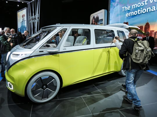 Volkswagen reveals the I.D. Buzz concept at the 2017 North American International Auto Show held at Cobo Center in downtown Detroit on Monday, Jan. 9, 2017.