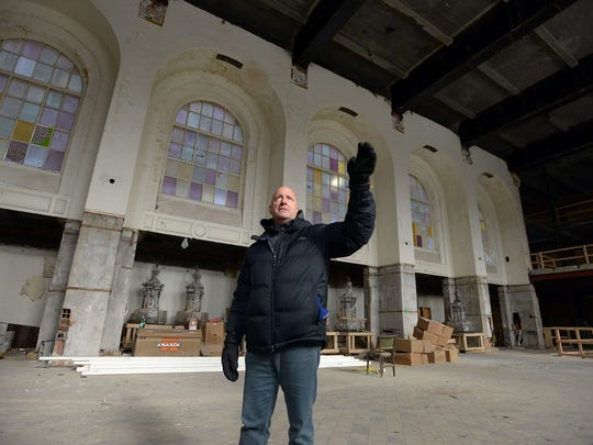 Jeff Greenberg on site of a former bank building he and his brother own, now being renovated into apartments in Hackensack.