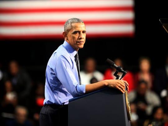President Barack Obama speaks to Flint residents about