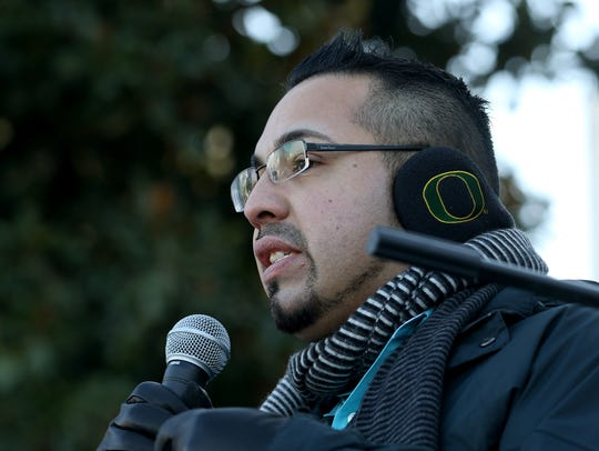 Rep. Diego Hernandez speaks during an immigrant rights