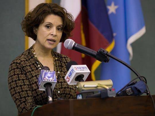 City Secretary Rebecca Huerta speaks to the media following Mayor Dan McQueen resignation on Wednesday, Jan. 18, 2017.