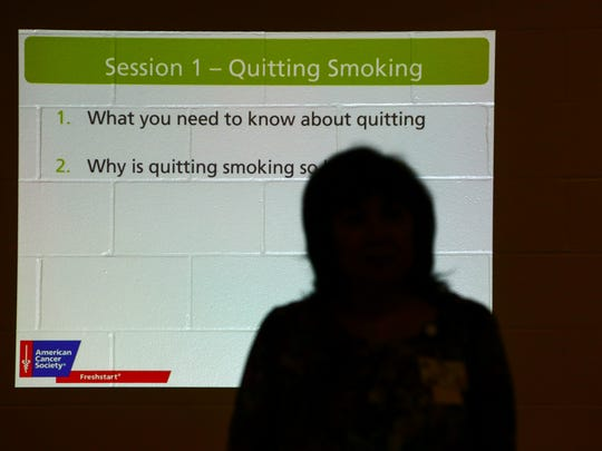 Noelia Rodriguez, health education specialist for Corpus Christi-Nueces County Public Health District, leads the first session of a four-part series of one-hour classes aimed at helping people quit smoking Tuesday, Jan. 10, 2017, at the Lindale Recreation Center.