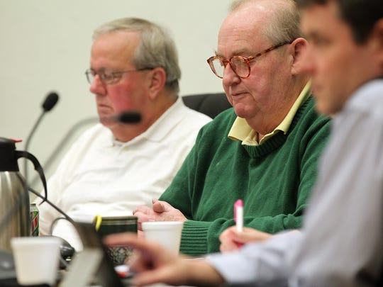 Muscatine City Councilman Michael Rehwaldt, center, meets with the council at Muscatine City Hall on Thursday, Jan. 19, 2017.