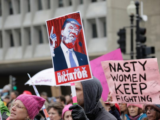 Women and men from all over the country take to the streets of D.C. during the Women's March on Washington Saturday Jan. 21, 2017.
