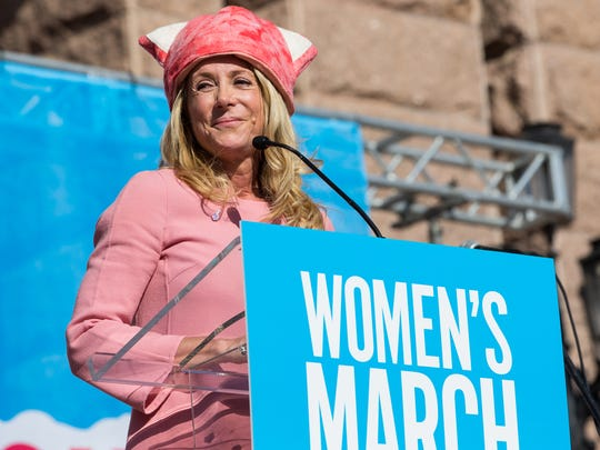 Former Texas state Rep. Wendy Davis speaks on the steps of the Texas Capitol after the Women's March on Austin on Saturday, Jan. 21, 2017.