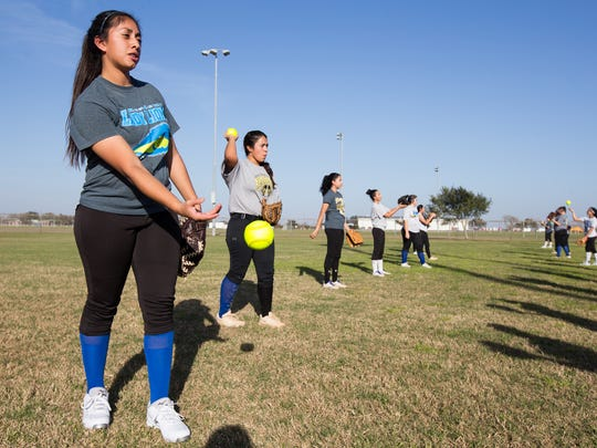 Santa Gertrudis Academy's pitcher Saidi Castillo watches up during practice at Dick Kleberg Park in Kingsville on Tuesday, Jan, 24, 2017.