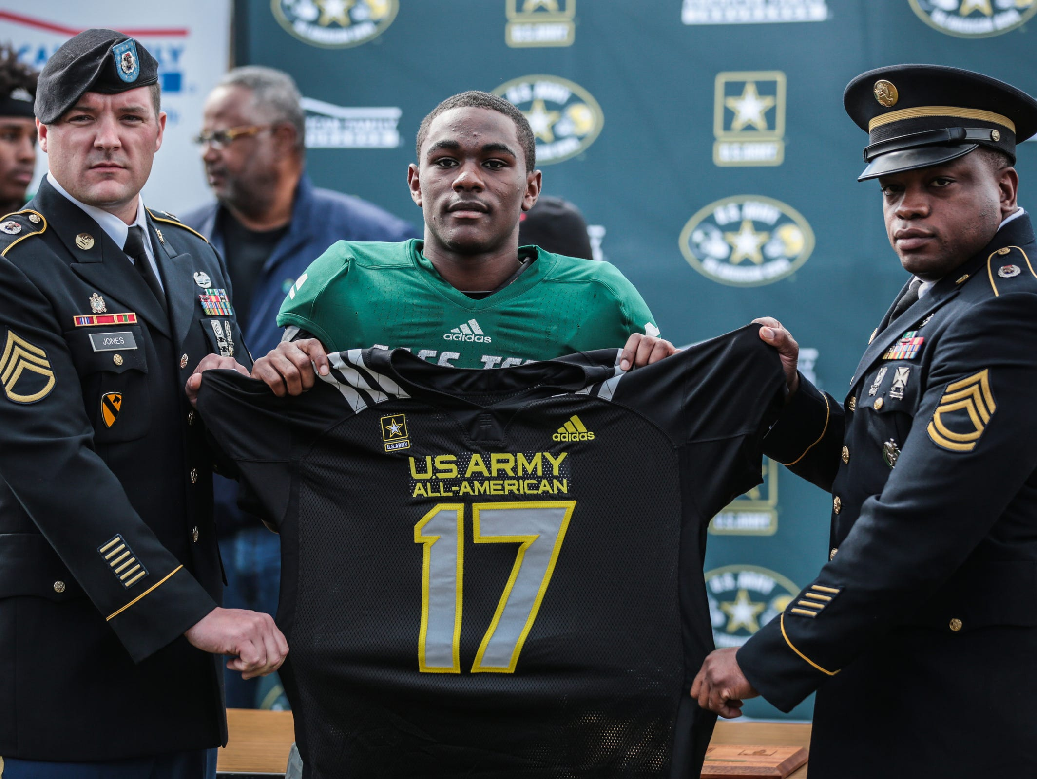 Detroit Cass Tech's Donovan Johnson honored as 2017 U.S. Army All-Americans during halftime of game against Detroit King on Oct. 1, 2016.
