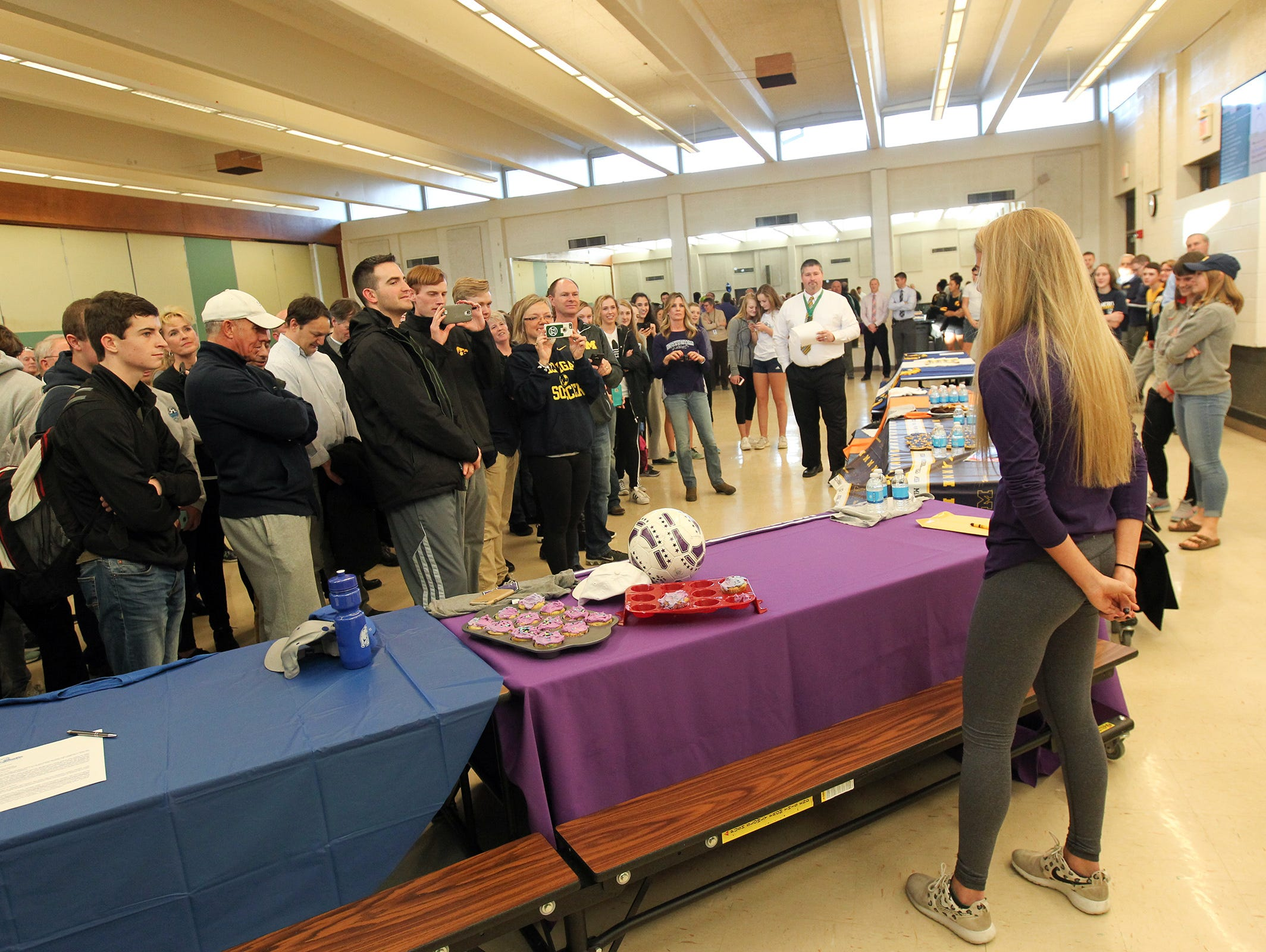 Iowa senior and Northwestern soccer commit Regan Steigleder thanks friends and family during her school's signing day event on Wednesday, Feb. 1, 2017.