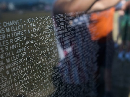 The Wall That Heals, a replica of the Vietnam Veterans Memorial, is installed Wednesday, Feb. 1, 2017, at the Festival Grounds at Rockport Harbor.