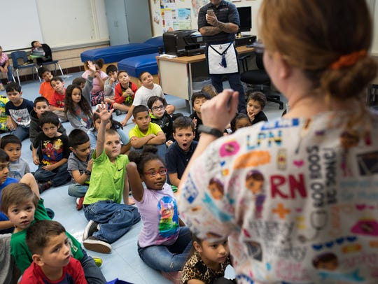 First grade students at Woodlawn Elementary School