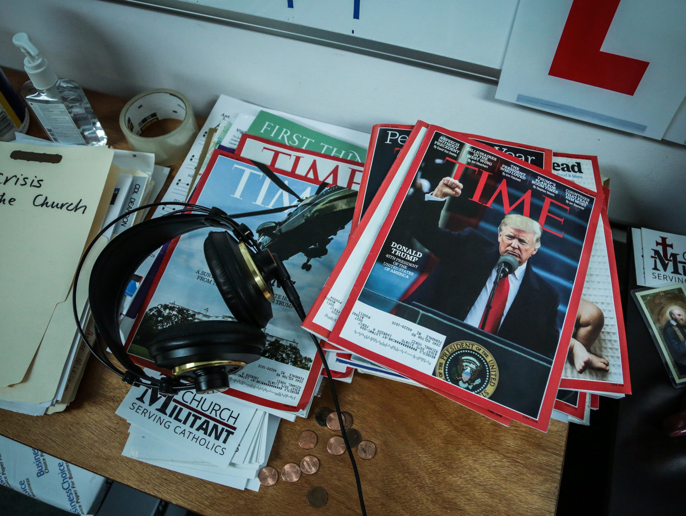 Time magazines are seen inside Church Militant headquarters
