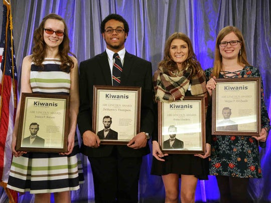 Abe Lincoln Award winners (from left), Jessica Borum, 3rd place; DeShawn Thompson, 1st place; Anna Hinders, 4th place; and Megan McQuade, 2nd place, were awarded scholarships during the 42nd Annual Abe Lincoln Awards, held by the Kiwanis Foundation of Indianapolis, at Ivy Tech Event Center Feb. 10, 2017.