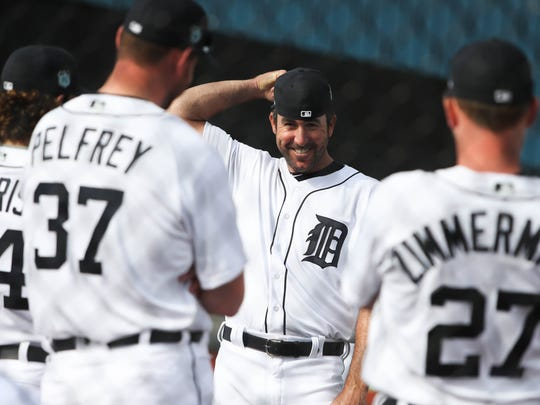 Tigers pitcher Justin Verlander talks with teammates on the first day of spring training on Feb. 14 at the remodeled Publix Field at Joker Marchant Stadium in Lakeland, Fla.