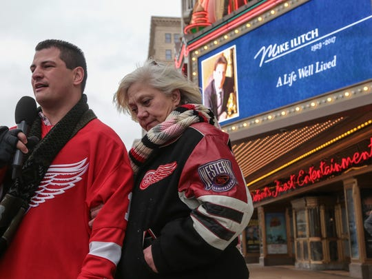 """Vincent Peraino, of Clinton Twp. is interviewed with his mother Corrine Peraino, of Clinton Twp. after attending the public memorial and visitation of the late Mike Ilitch on Wed., February 15, 2017 outside of the historic Fox Theatre in downtown Detroit. """"I don't know what my life would look like if I didn't have Red Wings in our life,"""" Vincent said.  """"I think that in at least my life that there isn't anyone more important to the city of Detroit than Mike Ilitch."""""""