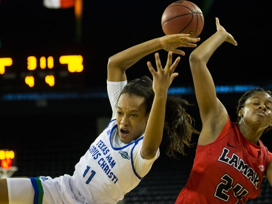 Texas A&M-Corpus Christi's Kassie Jones is fouled by Lamar's Ashlan Miles during the fourth quarter of their game at the American Bank Center on Saturday, Feb. 18, 2017.