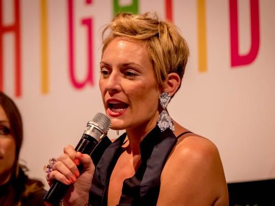 Kelley Lilien, graphic designer, founder of www.mrslilien.com, published author, creative director, and social media influencer speaks as one of the panelists at the Guam Women's Chamber of Commerce Hightide Women's Summit at the Dusit Thani Guam on February 17.